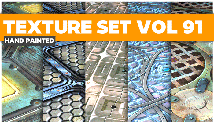 Stylized Sci-fi Metal Vol 91 – Hand Painted Textures