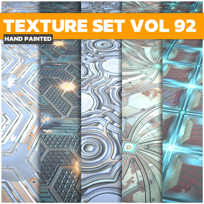 Stylized Sci-fi Metal Vol 92 – Hand Painted Textures