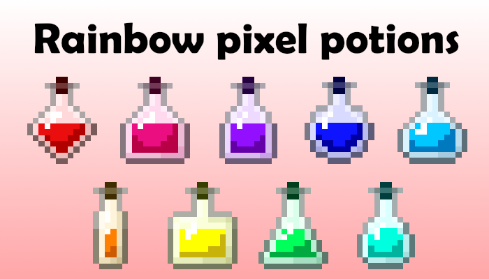 Rainbow pixel potions [16x16px]