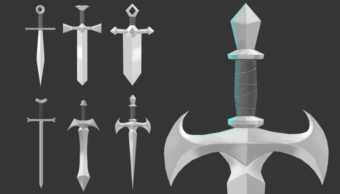stylized mini sword – Hand painted