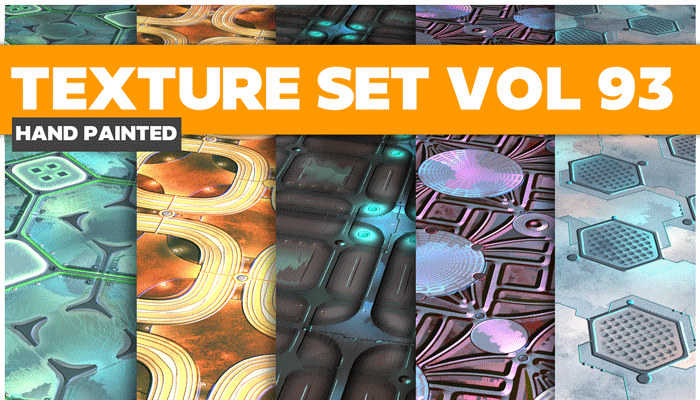 Stylized Sci-fi Metal Vol 93 – Hand Painted Textures