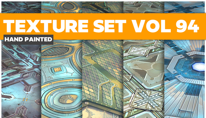 Stylized Sci-fi Metal Vol 94 – Hand Painted Textures