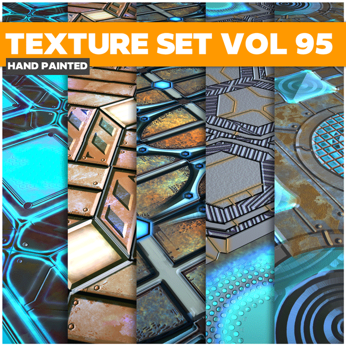 Stylized Sci-fi Metal Vol 95 – Hand Painted Textures