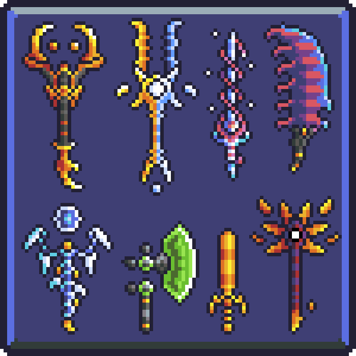 Pixel Art – Swords and Staffs