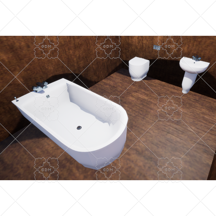 Bathroom Suite (low poly, white)