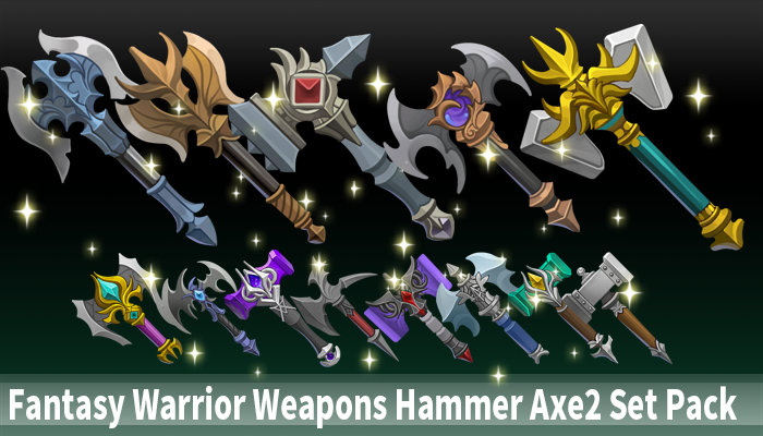 Fantasy Warrior Weapons Hammer Axe2 Set Pack