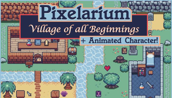 Pixelarium: Village of All Beginnings   16×16 Top Down Pixel Art Tileset