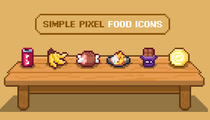 Simple Pixel Food Icons