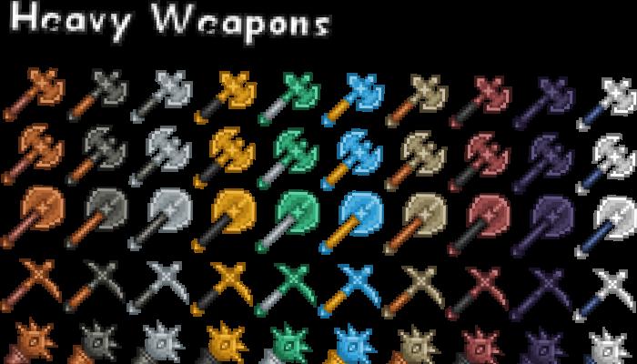 Pixel Art Icons – Heavy Weapons – 24×24