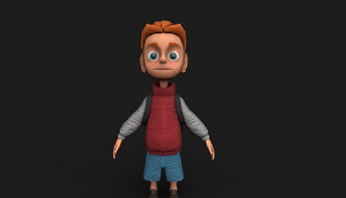 School Boy Low Poly 3D Model