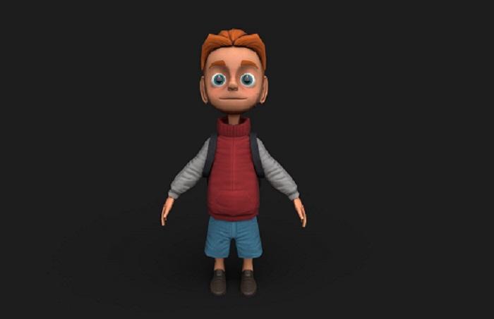 School Boy Low Poly 3D Model