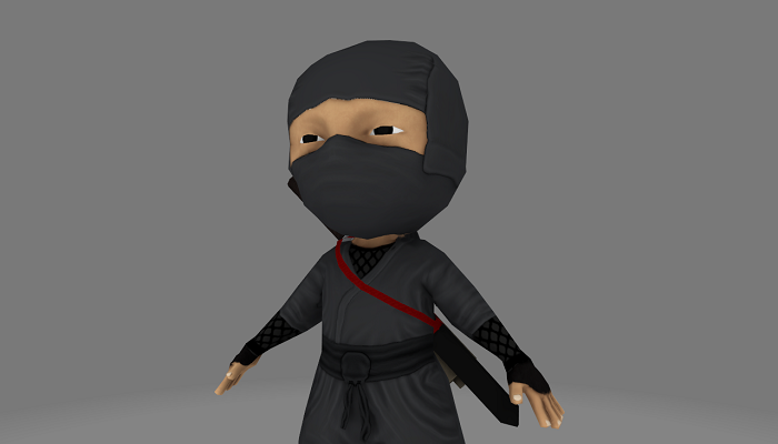 Low Poly Ninja Warrior Game Asset