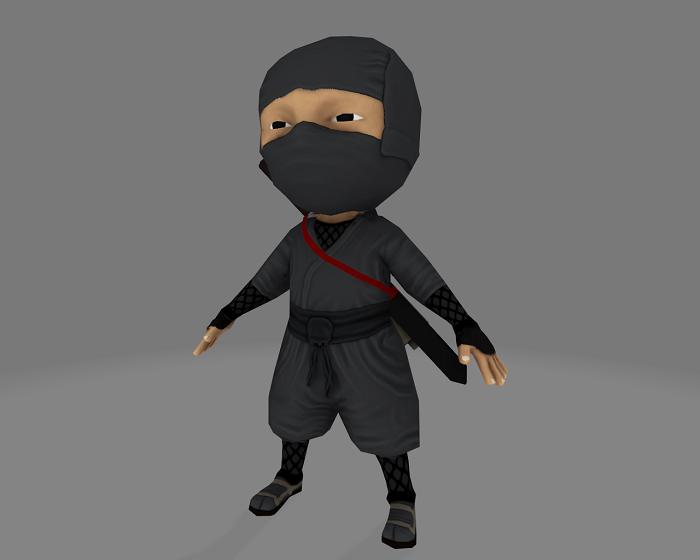 Low Poly Ninja Warrior Game Asset