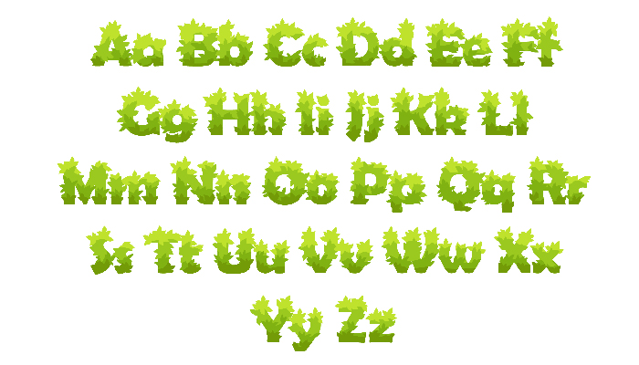 Letters and numbers from green grass