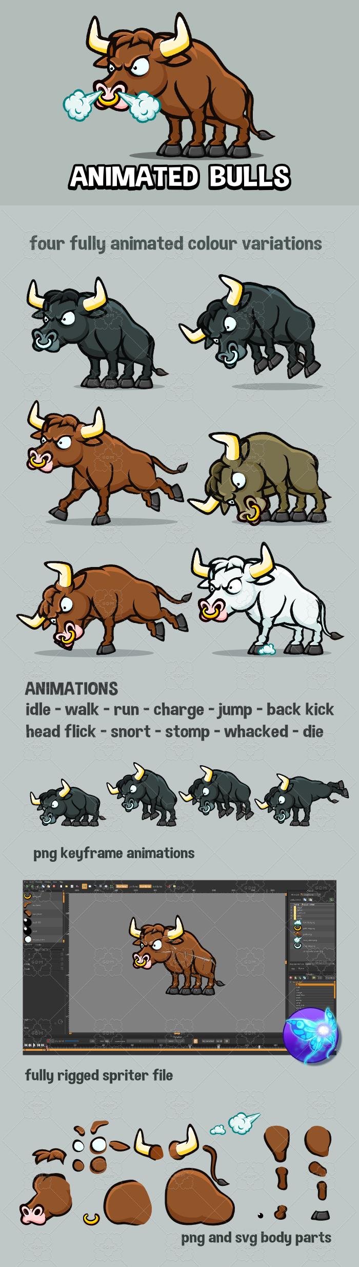 Animated bulls