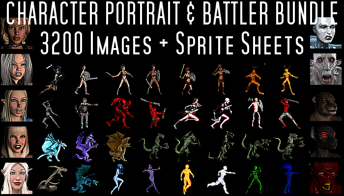 Character Portraits & Side View Battlers – 3,200 Image Bundle