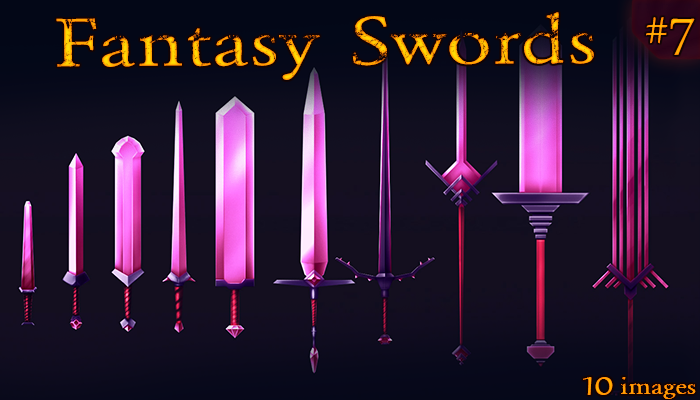 Fantasy Weapon: Crystal Swords set