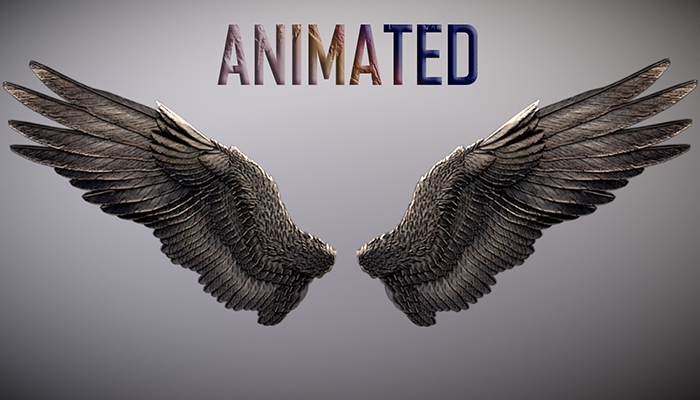 Animated Low Poly Dark Angel Wings