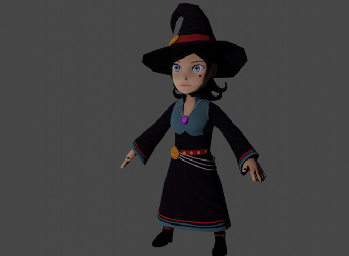 Low Poly Witch Asset for game
