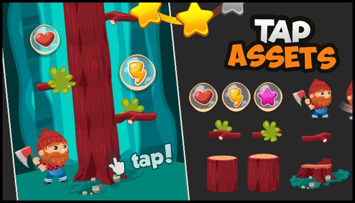 Tap game Assets – Lumberjack