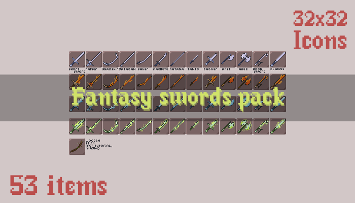 Fantasy Swords Pack (53 items)