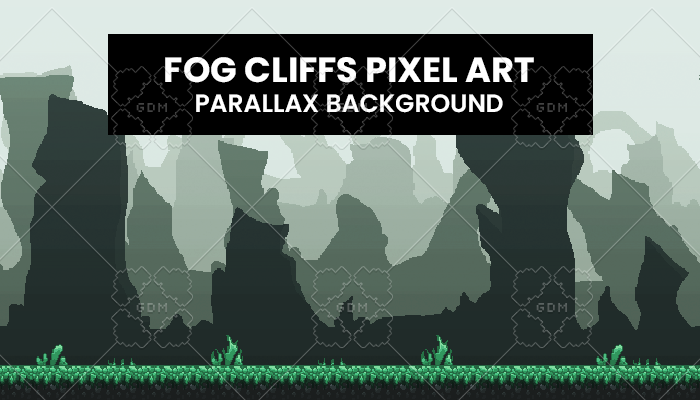 Fog Cliffs Pixelart Background