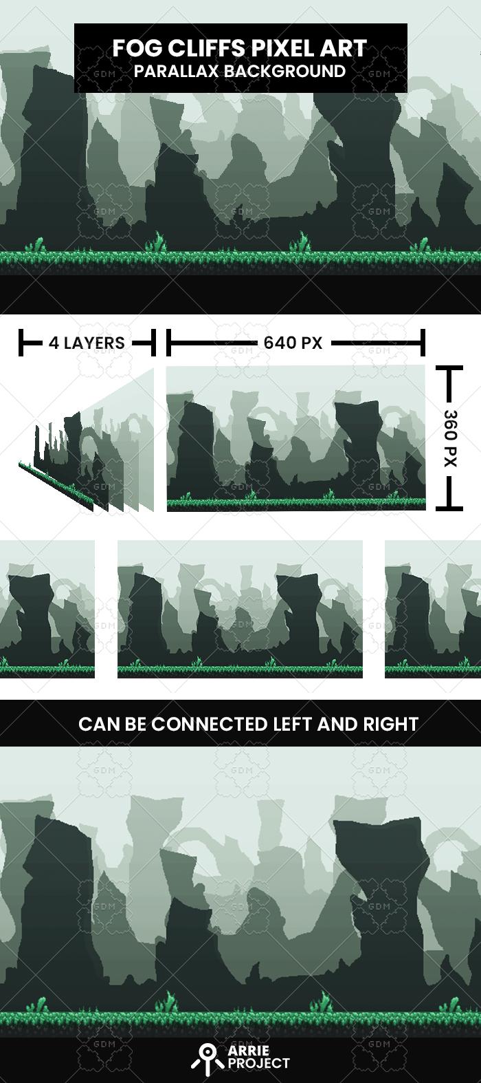 Fog Cliffs Pixelart Background