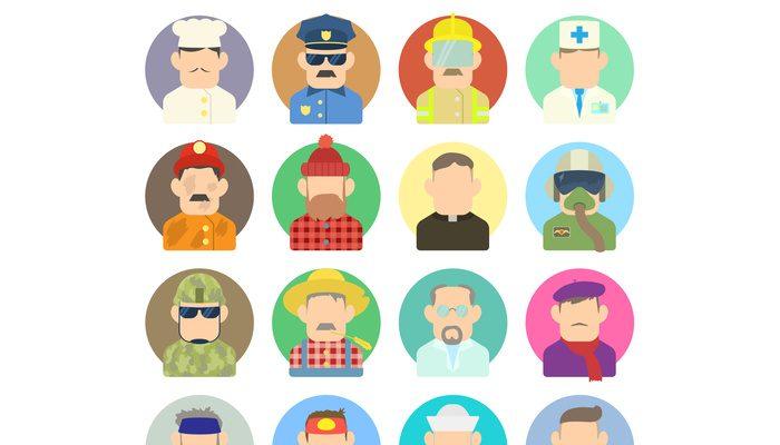 Profession icons set, flat style