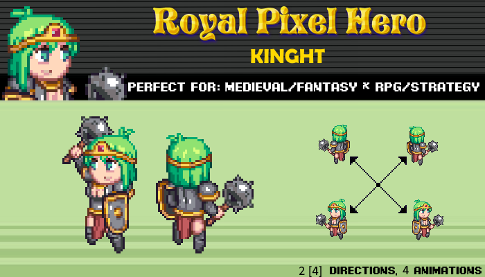 Pixel Art Chibi: Kinght / Royal Pixel / Isometric