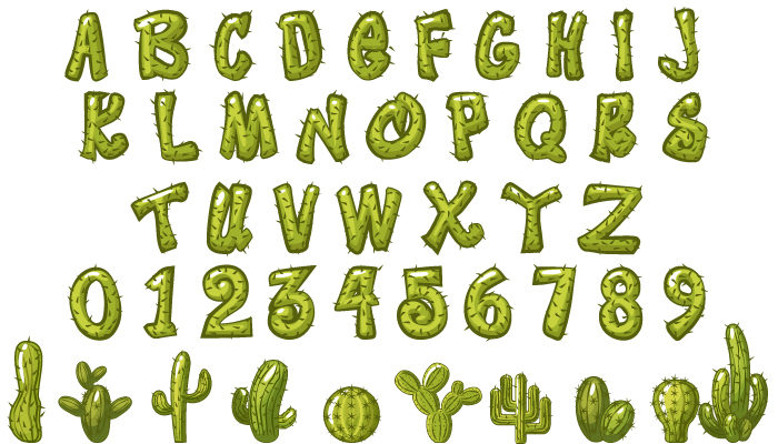 Cactus Letters and Numbers, Seamless Patterns