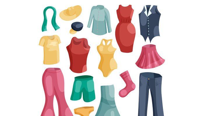 Kinds of clothing icons set, cartoon style