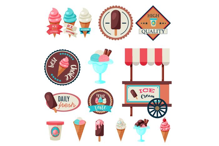 Vintage ice cream label set template