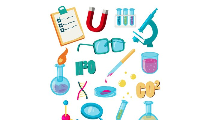 Science icons set, cartoon style