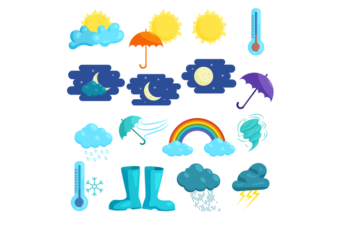 Weather icons set, cartoon style