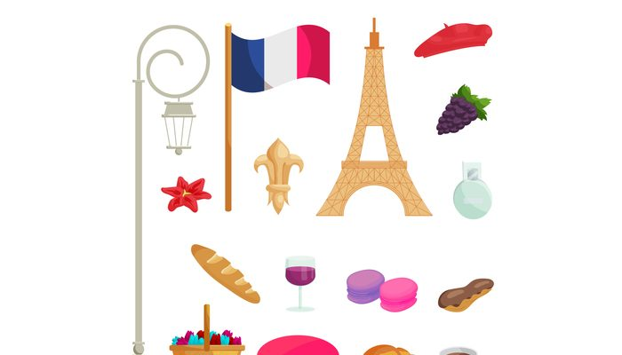 France icons set, cartoon style