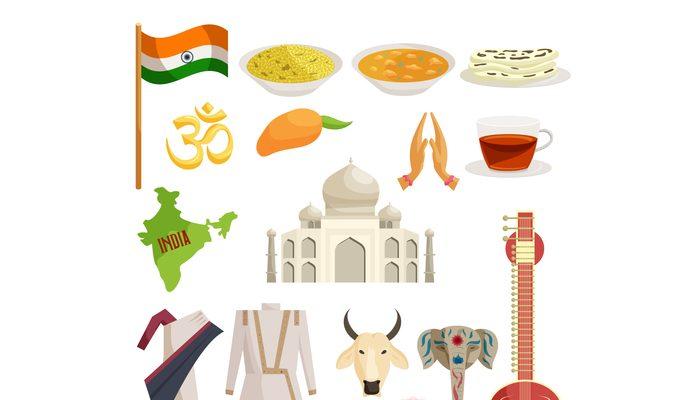 India icons set, catoon style