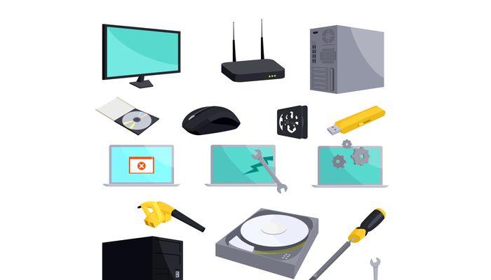 Computer repair icons set, cartoon style