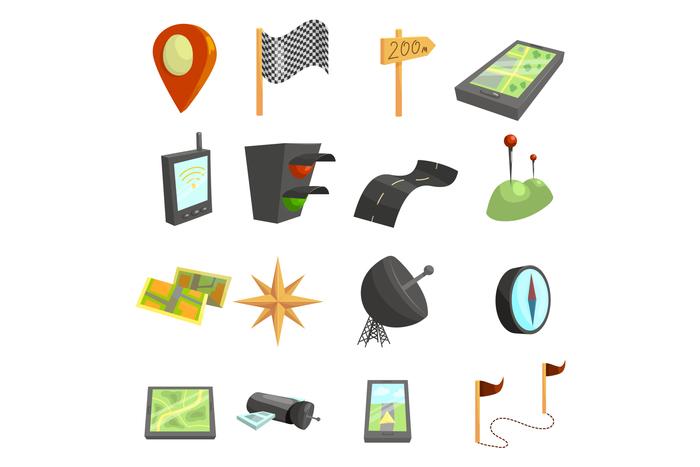 GPS navigation icons set, cartoon style