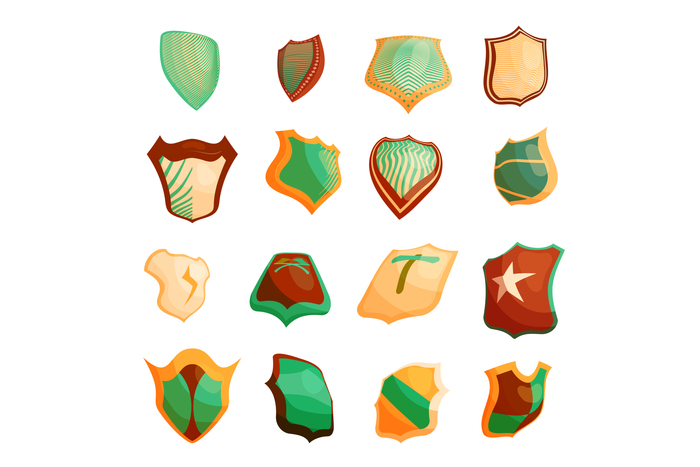 Shield icons set in cartoon style