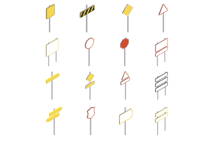 Road signs icons set, isometric style
