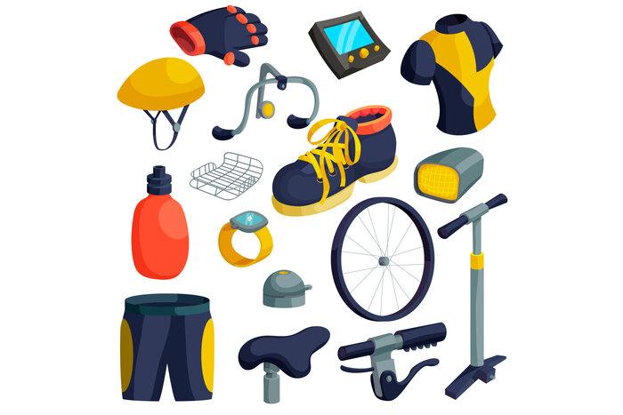 Bike items icons set, cartoon style
