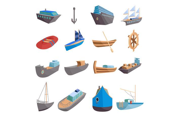 Sea transport icons set, cartoon style