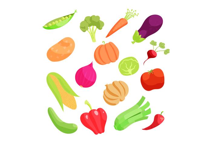 Vegetable icons set, cartoon style