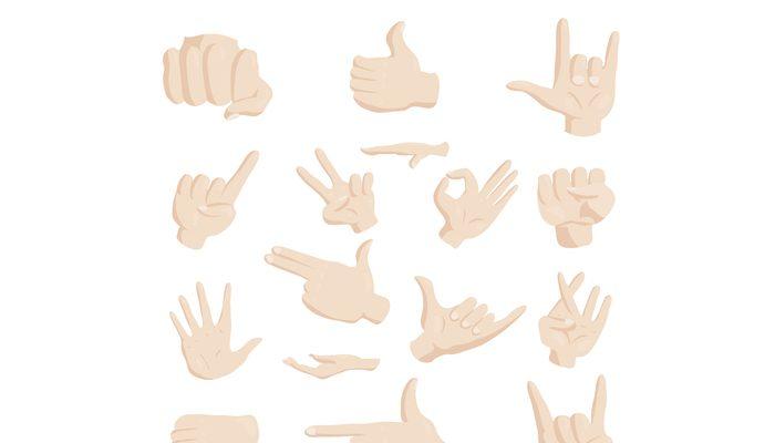 Hand gesture icons set, cartoon style