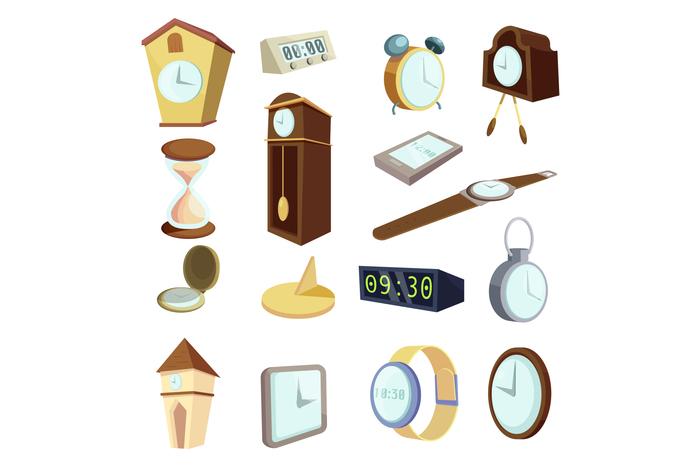 Different clocks icons set, cartoon style