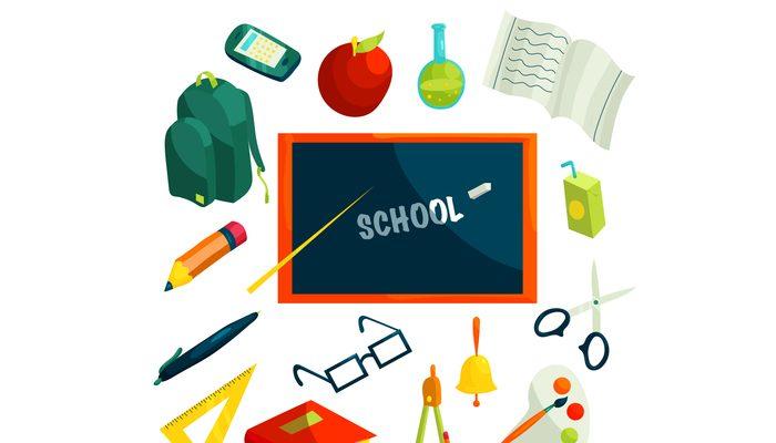 School icons set, cartoon style