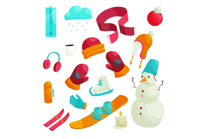 Winter icons set in flat style