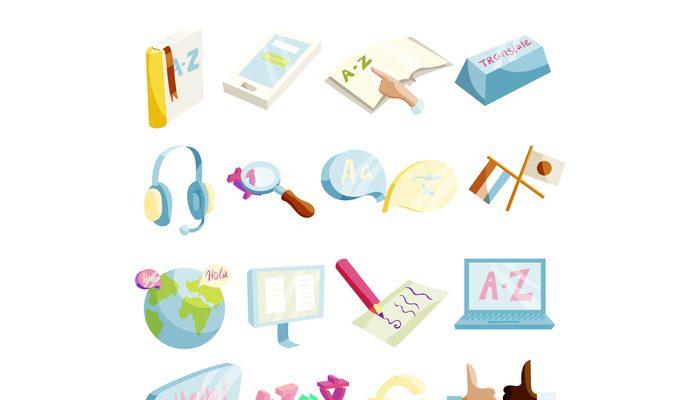 Translator symbols icons set, cartoon style