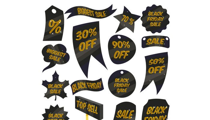 Black Friday Sales labels icons set, cartoon style