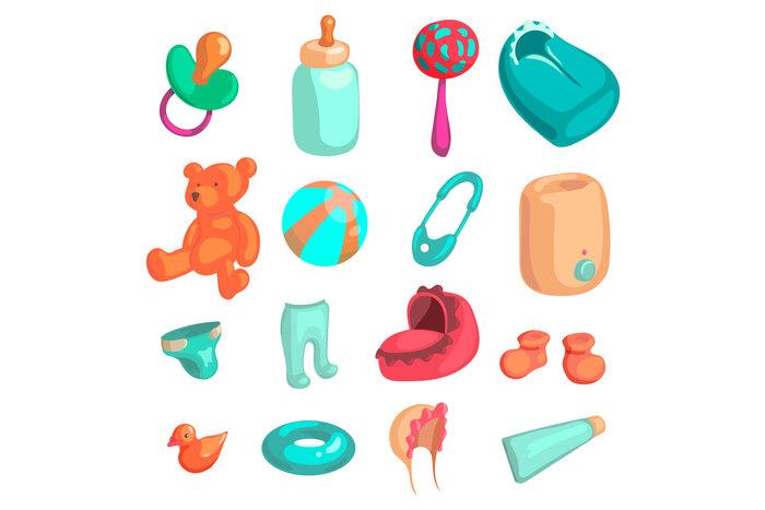 New baby biorn icons set, cartoon style